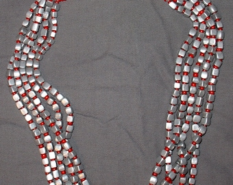 restrung necklace old alluminium and red glass beads