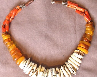 old coral, amber and shell necklace