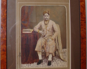old hand painted photo of a maharajah