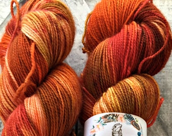 Variegated Hand Dyed Yarn - Robin Red Breast fr our Secret Garden Collection,Fingering Weight,80/20 Superwash Merino-Nylon,Toad Hollow yarns