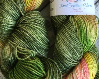 Variegated Hand Dyed Yarn -Nosegay from our Secret Garden Collection, Fingering Weight,80/20 Superwash Merino-Silk blend,Toad Hollow yarns