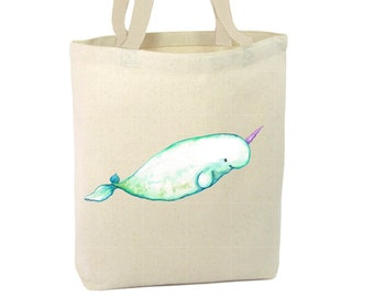 Heavy Duty Canvas Tote Bag - Narwhal,Narwhal Tote Bag, Beach Tote Bag,The Toad's Totes,Reusable Tote, Project Bag