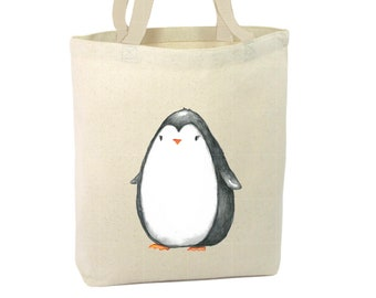 Heavy Duty Canvas Tote Bag - Penguin,Baby Penguin Tote Bag, Beach Tote Bag,The Toad's Totes,Reusable Tote, Project Bag