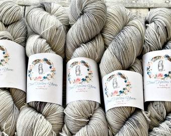 Hand Dyed Yarn,Time Traveler Yarn,Grey Speckled Yarn,Fingering Weight,80/20 Superwash/Nylon blend,100 grams,indie dyed yarn,Toad Hollow Yarn