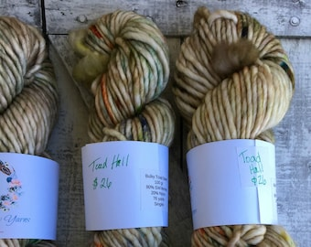 Hand Dyed Yarn-Bulky Toad-Toad Hall Wind in the Willows color way -100 grams-Indie dyed yarn-76 yards-80/20 superwash nylon-Toad Hollow Yarn