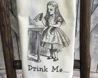 Alice in Wonderland Kitchen Towel,Whimsical Dish Towel,Drink Me Tea Towel,Dish Cloth,Alice in Wonderland Drink Me Dish Towel,Alice Tea Towel