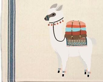 Alpaca with blankets Kitchen Towel,Dish Towel,Tea Towel,Flour Sack Material,Alpaca lovers gift,Flour Sack Kitchen Towel,Whimsical Dish Cloth