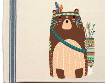 Tribal Bear Kitchen Towel, Bear lovers gift Tea Towel,Flour Sack Material,Woodland Tribal Animals Dish Towels,Whimsical  Towel,Dish Cloth