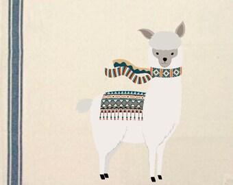 Alpaca in scarf Kitchen Towel alpaca lover gift Tea Towel Flour Sack Material Alpaca Dish Towel  Kitchen Towel Whimsical Dish Cloth