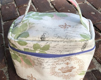 Train Case Knitting Project Bag-Toad Hollow bag,Crochet Project bag,Distressed Paris fabric bag,Vintage inspired bag,make up case,sewing bag