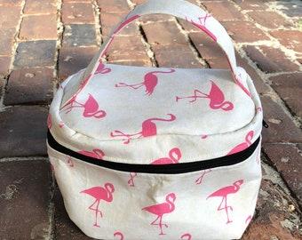 Train Case Knitting Project Bag-Toad Hollow bag,Crochet Project bag,Pink Flamingo fabric bag, Vintage inspired bag,make up case, sewing bag