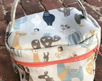 Train Case Knitting Project Bag-Toad Hollow bag,Crochet Project bag,Llama & Cactus fabric bag, Vintage inspired bag,make up case, sewing bag
