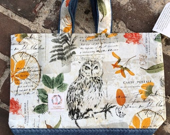 Knitting Project Bag - United States, Autumn Owl bag,Sweater Size Knitting Bag,Toad Hollow Bag,Louisa bag,yarn keeper,knitting project bag
