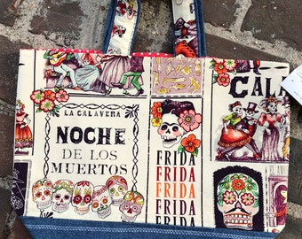 Knitting Project Bag-United States,Noche De Los Muertos,Sweater Size Knitting Bag,Toad Hollow Bag,Louisa bag,yarn bag,knitting project bag