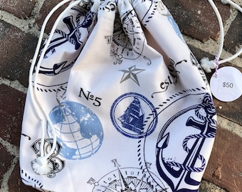 Navy & White Nautical Knitting Project Bag-Toad Hollow bag,Crochet Project bag, drawstring bag, perfect gift for him or her,gift for knitter