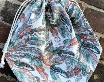 Coral & Teal Feathers Knitting Project Bag-Toad Hollow bag,Crochet Project bag, drawstring bag, perfect gift for him or her,gift for knitter