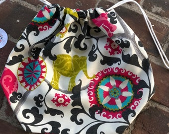 Elephant & flowers Knitting Project Bag - Toad Hollow bag, Crochet Project bag, drawstring bag, perfect gift for him or her,gift for knitter