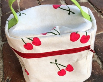 Train Case Knitting Project Bag-Toad Hollow bag,Crochet Project bag, Cherries fabric bag, Vintage inspired bag,make up case, sewing bag