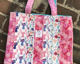 Market Tote Bag-Patchwork Tote Bag, Knitting Tote, Project Tote, Toad Hollow Bag,Crochet Project Bag,Louisa bag,Boho Deer and Flower tote