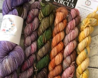 Sock yarn and book club - The Night Circus,Yarn of the month club,YOTMC,fingering weight yarn,toad hollow yarn club,hand dyed yarn