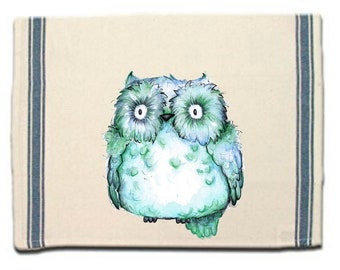 Baby Green Owl Kitchen Towel,Whimsical Dish Towel,Owl Tea Towel,Dish Cloth, Gift for Her,Owl Gift, Gift for Owl Lover
