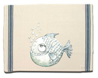 Piranha Kitchen Towel, Piranha Lovers Gift, Tea Towel,Flour Sack Material,Arctic Animals Dish Towels, Whimsical Towel,Dish Cloth