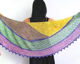 Roulotte Shawl Kit,Hand Dyed Yarn,Indie Dyed Yarn,4 Skein Yarn Kit.Knitting Kit,Fingering Weight,Superwash Merino-Nylon.Toad Hollow yarns