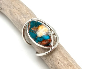 Turquoise Oyster Shell Silver Ring Size 8 /Oyster Shell Turquoise Long Statement Ring / Natural Turquoise / Long Ring /925 Sterling Silver