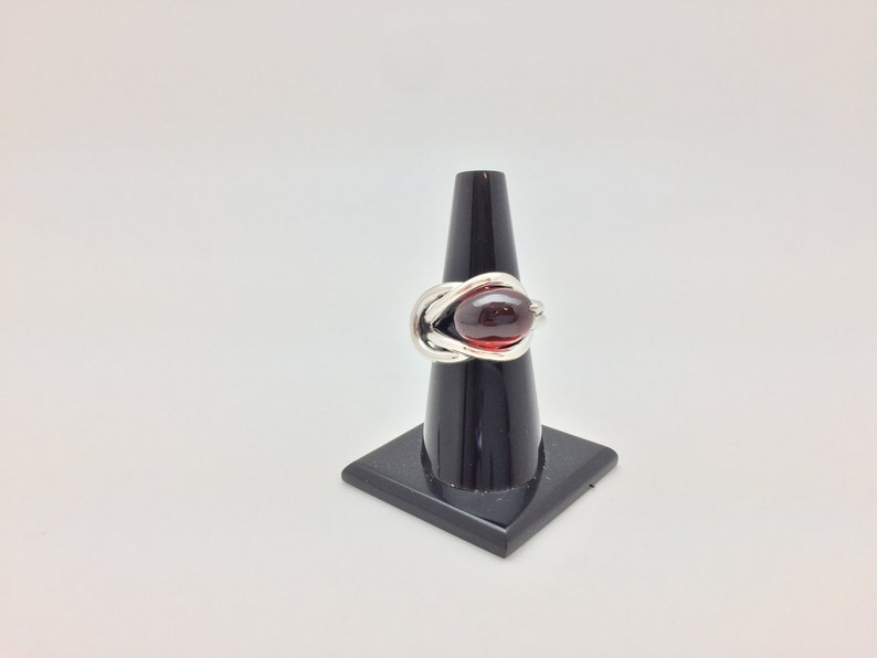 Hessonite Garnet Ring  925 Sterling Silver  Oval Sterling Wire Wrapped Design  Size 7