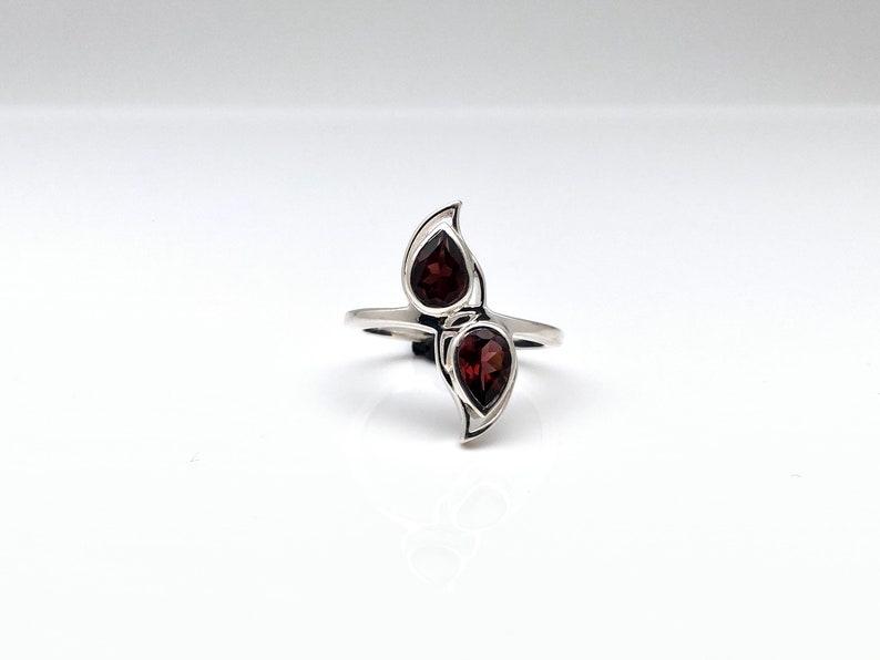 Garnet Ring  925 Sterling Silver  Double Teardrop Setting  Red Garnet Ring