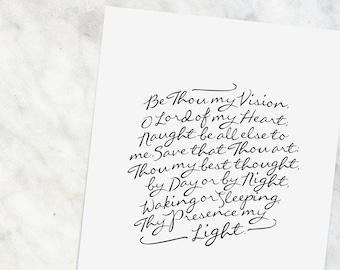 "Be Thou My Vision     8x10"" Calligraphy Print, Hymn Print, Home Decor, Typography Print, Hymn Art, Gift for Her, Church Music Art Print"