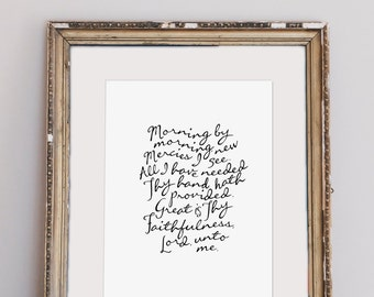 "Great Is Thy Faithfulness (Lamentations 3:22-23)     8x10"" Calligraphy Print, Art Print, Hymn Print, Hymn Lyrics, Gallery Wall Print"