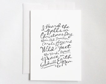 """I Heard the Bells On Christmas Day (5x7"""" Flat or Folded Card)   Calligraphy Card, Typography Card, Christmas Card, Holiday Card, Minimalist"""