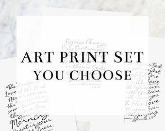 "Art Print Set (YOU CHOOSE!)     8x10"" Calligraphy Print, Hymn Print, Home Decor, Scripture Print, Typography Print, Gallery Wall"