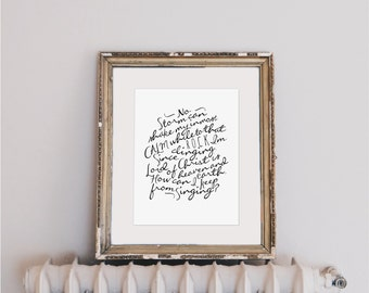 """How Can I Keep From Singing? (No Storm Can Shake My Inmost Calm)    8x10"""" Calligraphy Print, Hymn Art Print, Home Decor, Hymn Lyrics, Gift"""
