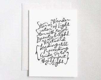 "We Three Kings (5x7"" Flat or Folded Card) | Calligraphy Card, Typography Card, Christmas Card, Holiday Card, Minimalist, Christmas Carol"