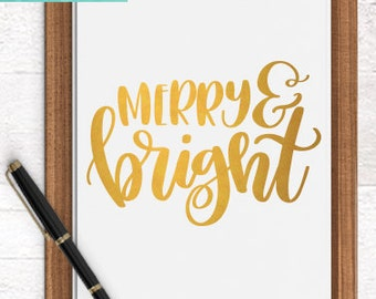 Christmas SVG Cutting Files /  Merry and Bright SVG Files Sayings / Holiday SVG for Cricut Silhouette / Winter Svg Commercial Use Ok