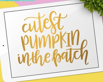 Cutest Pumpkin in the Patch SVG Cutting Files / Calligraphy SVG Files Sayings / Trick or Treat SVG for Cricut Silhouette / Kid Svg Clip Art
