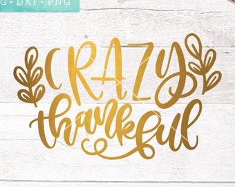Thanksgiving SVG Files / Crazy Thankful SVG Files Sayings / Fall SVG for Cricut Silhouette / Fall Designs Svg