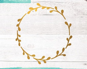 Leaf Wreath SVG Cutting Files / Circle SVG Files / SVG for Cricut Silhouette / Monogram Svg Files / Svg Cut Files / Commercial Use ok