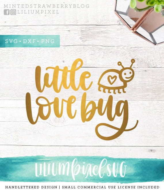 Valentine Svg Files Little Love Bug Svg Cutting Files Svg Etsy
