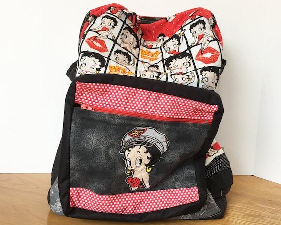 Handmade Quilted Betty Boop Logo Backpack School Overnight Bag Rucksack
