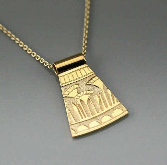 Solstice Womens Brass Rectangle Necklace I