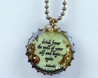 Bottle cap resin necklace