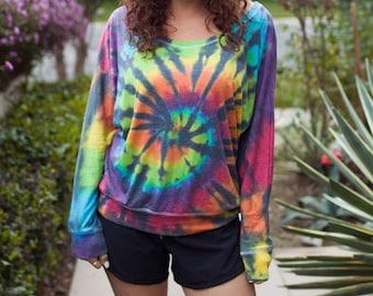 Tie Dye Women's Long Sleeve - Flowy - Off the Shoulder Slouchy T-Shirt - Tie Dye T-Shirt - Luxuriously Soft - Michigan Made - Sizes: XS-2XL