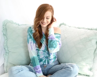 Tie Dye Women's Long Sleeve - Flowy - Off the Shoulder Slouchy T-Shirt - Luxuriously Soft - Michigan Made - Hippie - Sizes: XS ~ 2XL
