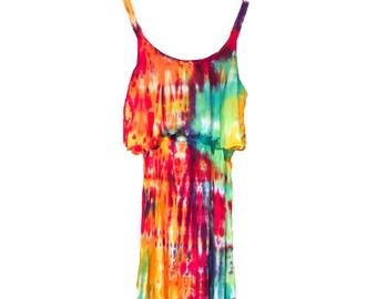 83598e53441 Tie Dye Rainbow Bohemian Dress - Summer Dress - Tie Dye Maxi Dress - Beach  Dress - Sizes XS - XL