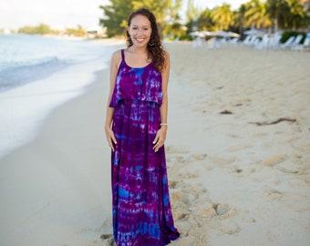 4ef2a7eb70da Tie Dye Bohemian Dress - Womens Beach Dress - Hippie - Flower Child - Sizes  XS - XL