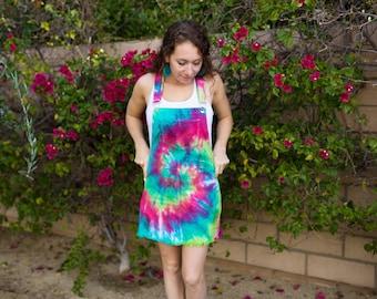 97004adb9d Tie Dye Overall Dress - Hippie - Rainbow Dress - Sizes  S-3XL