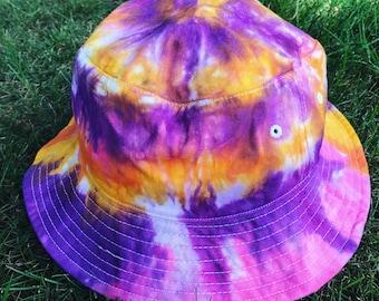 58b3bdcb439 Tie Dye Bucket Hat - Adult Hat - Baby Bucket Hat - Hippie - Free Spirit -  Handmade - Michigan Made